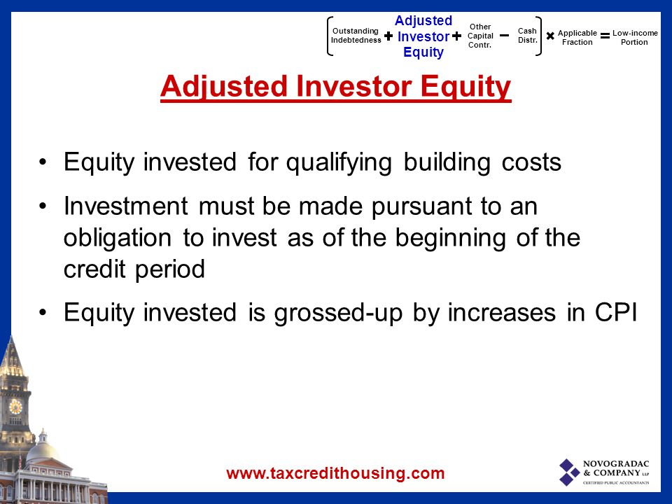 Outstanding Indebtedness Adjusted Investor Equity Other Capital Contr.