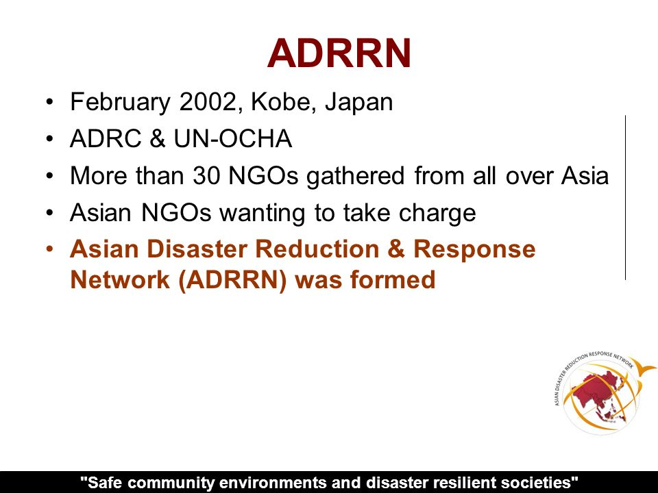 Safe community environments and disaster resilient societies ….true unity can prevail.