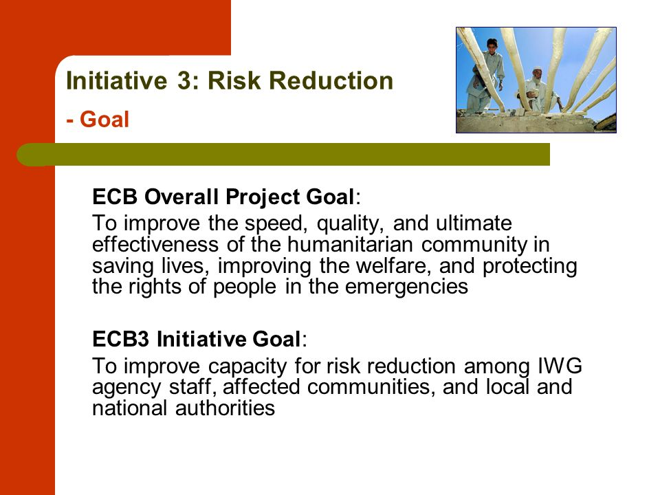Initiative 3: Risk Reduction - Goal ECB Overall Project Goal: To improve the speed, quality, and ultimate effectiveness of the humanitarian community in saving lives, improving the welfare, and protecting the rights of people in the emergencies ECB3 Initiative Goal: To improve capacity for risk reduction among IWG agency staff, affected communities, and local and national authorities