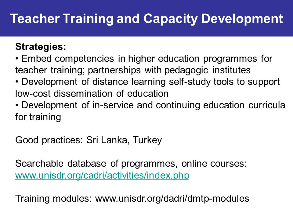 Strategies: Embed competencies in higher education programmes for teacher training; partnerships with pedagogic institutes Development of distance lea