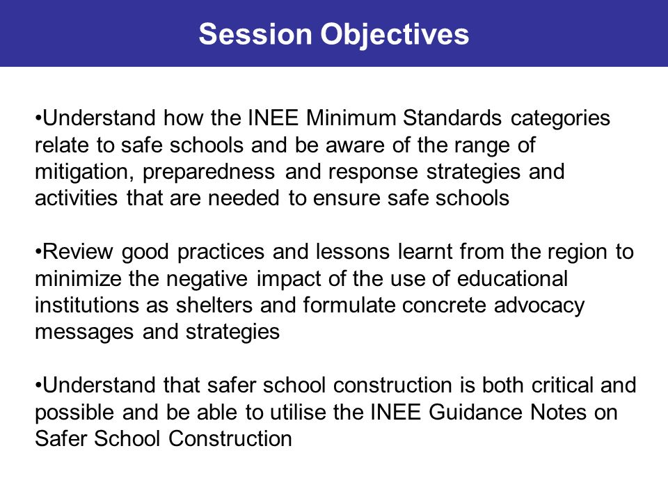 Which INEE Minimum Standards categories most directly relate to safe schools.