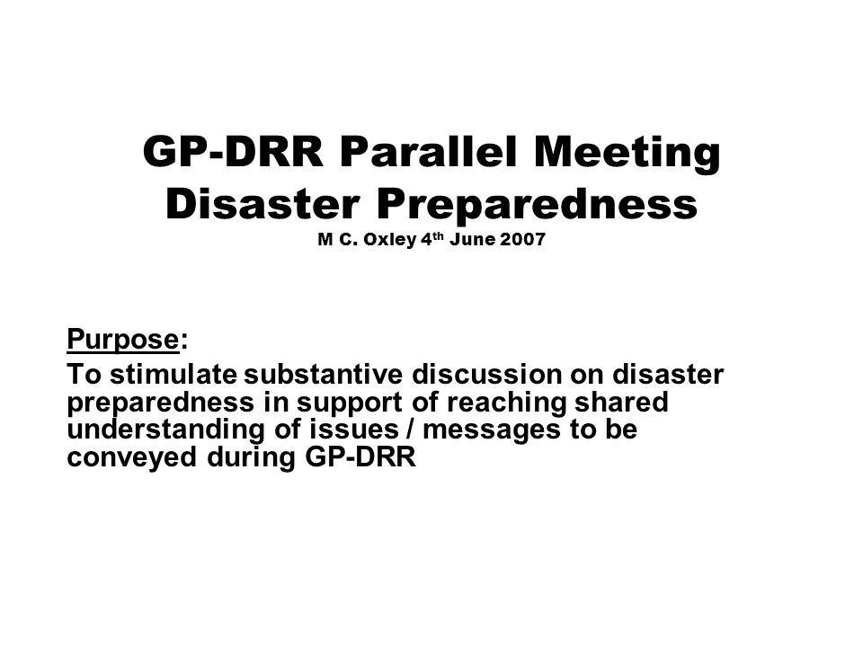 GP-DRR Parallel Meeting Disaster Preparedness M C.