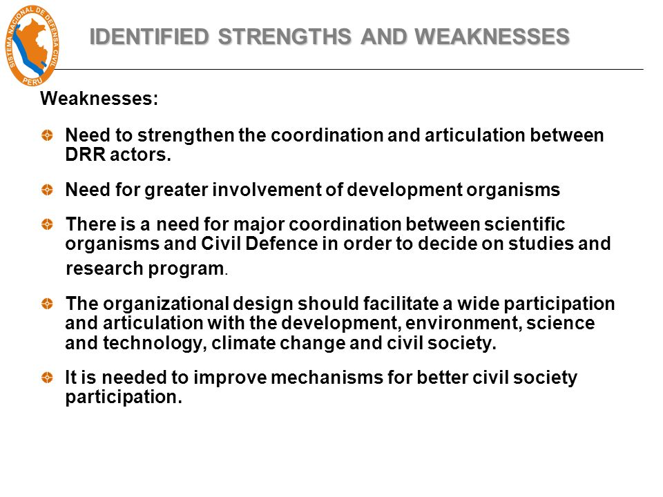 Weaknesses: Need to strengthen the coordination and articulation between DRR actors.