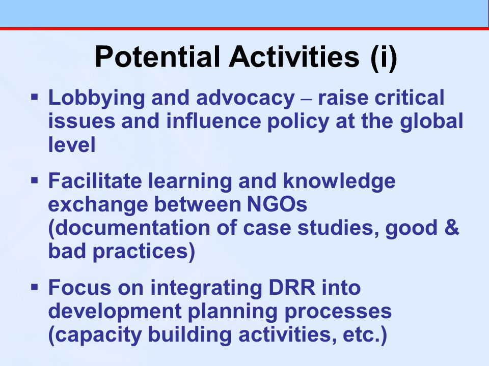 Lobbying and advocacy – raise critical issues and influence policy at the global level Facilitate learning and knowledge exchange between NGOs (docume