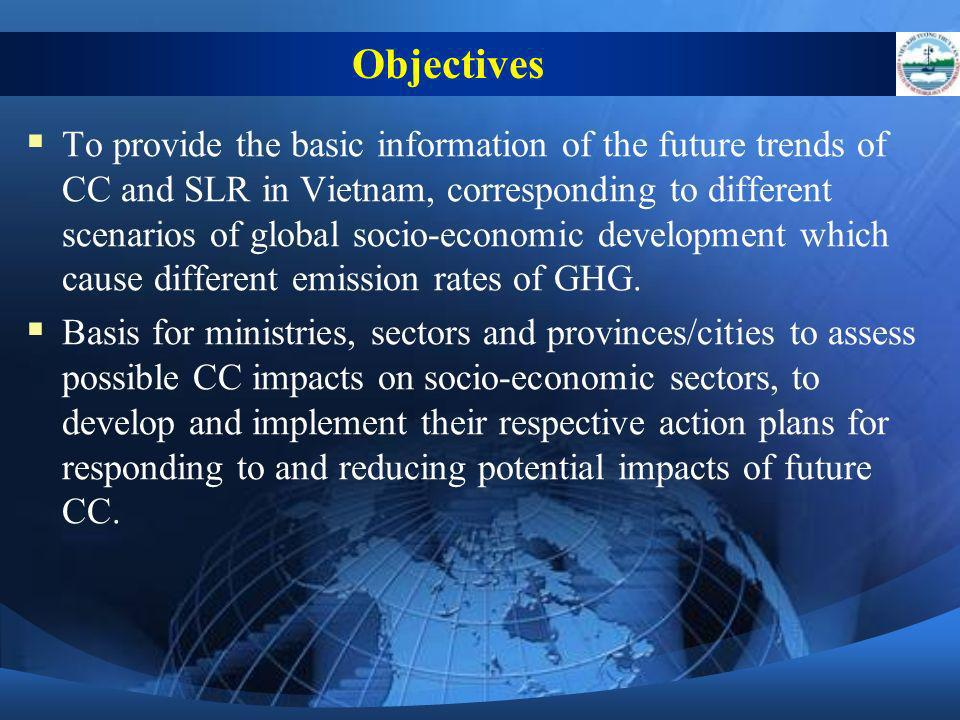 To provide the basic information of the future trends of CC and SLR in Vietnam, corresponding to different scenarios of global socio-economic developm