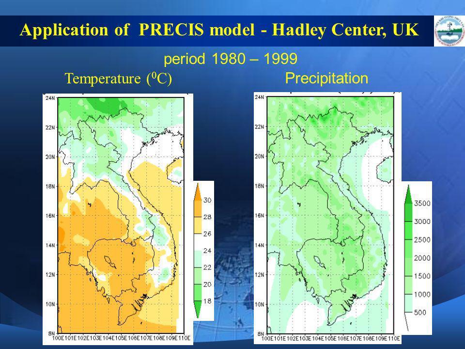period 1980 – 1999 Temperature ( 0 C) Precipitation Application of PRECIS model - Hadley Center, UK