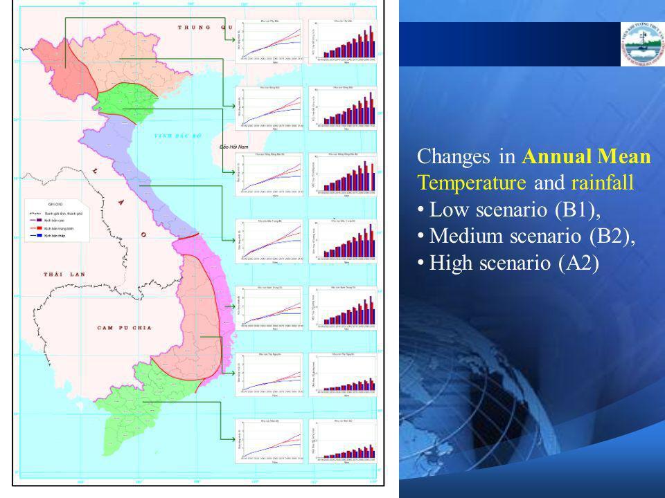 Changes in Annual Mean Temperature and rainfall Low scenario (B1), Medium scenario (B2), High scenario (A2) Ph lc 5. Mc tăng nhit đ trung bình năm ( o