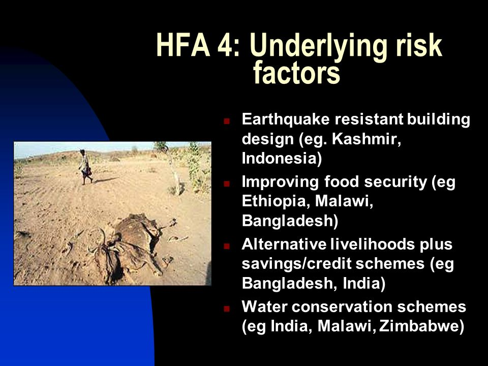 HFA 4: Underlying risk factors Earthquake resistant building design (eg.