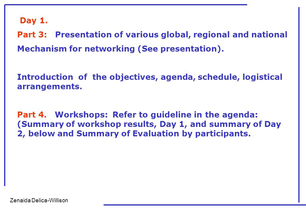 Zenaida Delica-Willison INPUTS ON DISASTER RISK REDUCTION BASED ON THE PRESENTATIONS