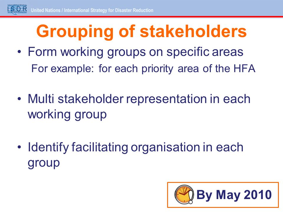 Grouping of stakeholders Form working groups on specific areas For example: for each priority area of the HFA Multi stakeholder representation in each working group Identify facilitating organisation in each group By May 2010