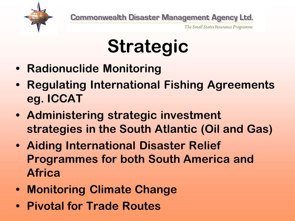 Strategic Radionuclide Monitoring Regulating International Fishing Agreements eg. ICCAT Administering strategic investment strategies in the South Atl