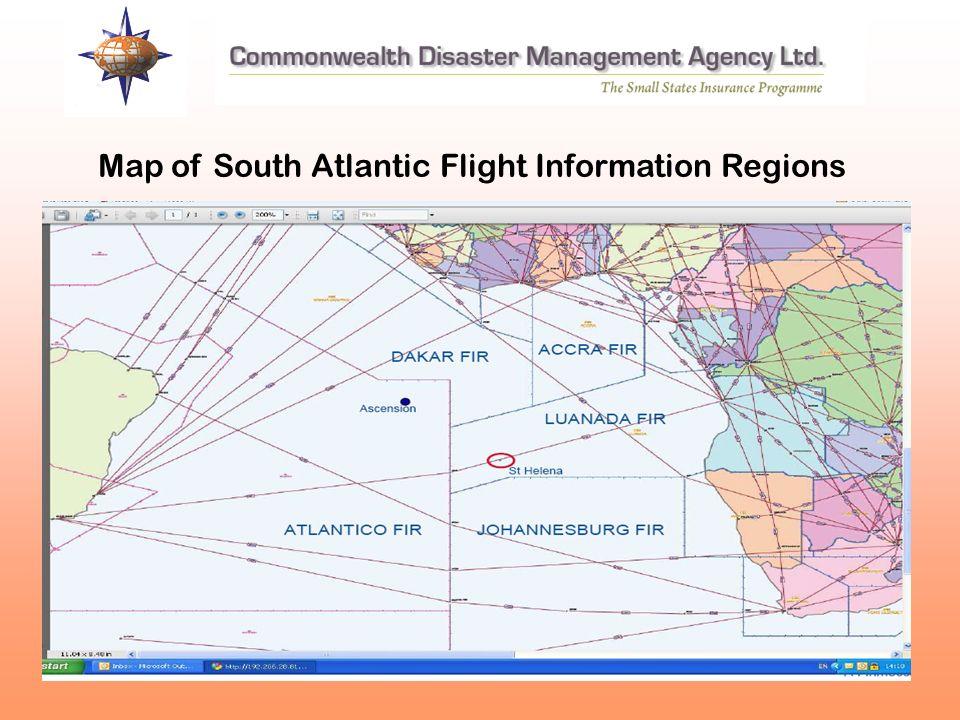 Map of South Atlantic Flight Information Regions