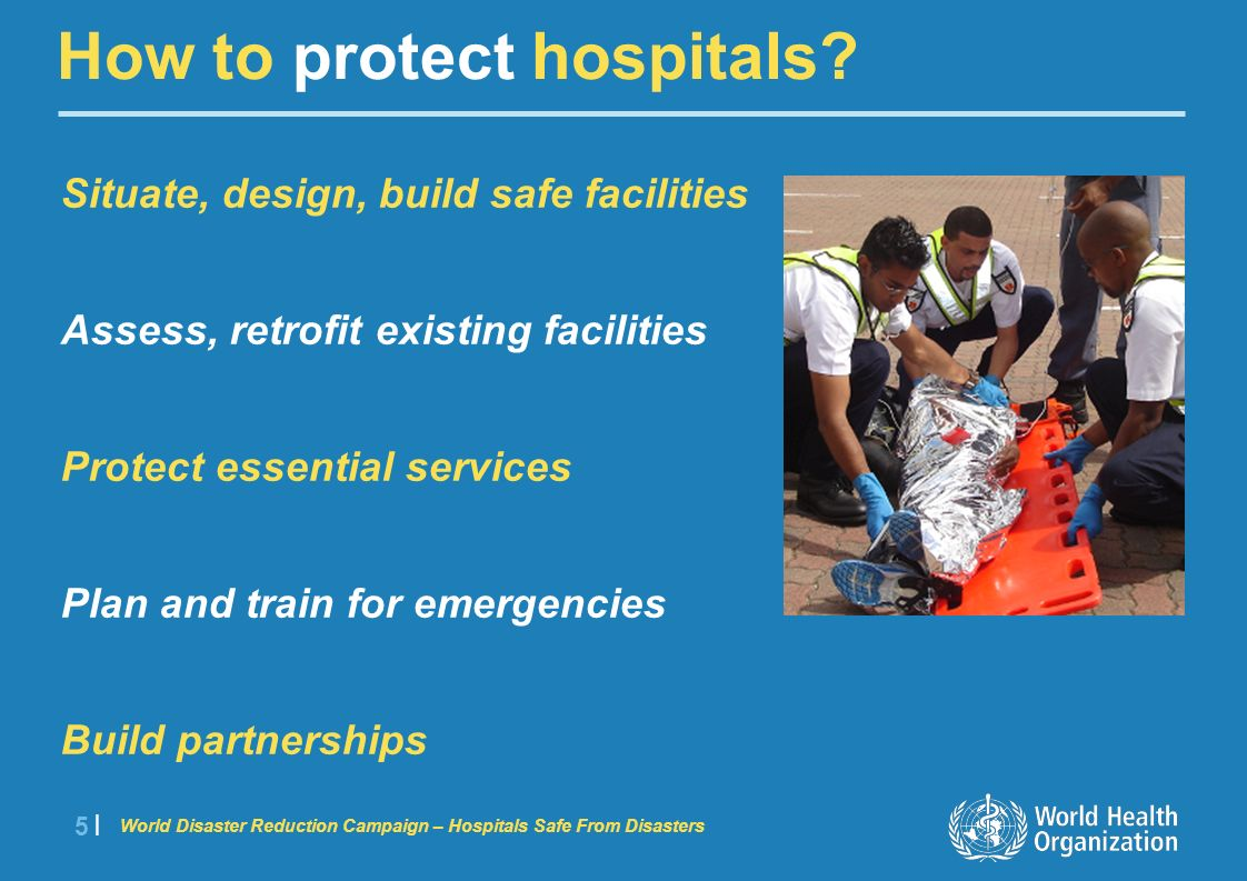 World Disaster Reduction Campaign – Hospitals Safe From Disasters 6 |6 | Lessons learned: 1985 Mexico earthquake 5 hospitals collapsed, 22 damaged 6000 beds lost 561 people died at Juarez Hospital Today Hundreds trained in PAHO Hospital Safety Index Index applied in many health facilities