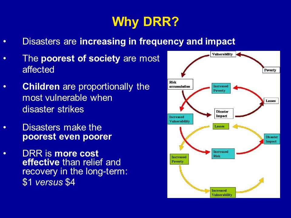Why DRR? Disasters are increasing in frequency and impact The poorest of society are most affected Children are proportionally the most vulnerable whe