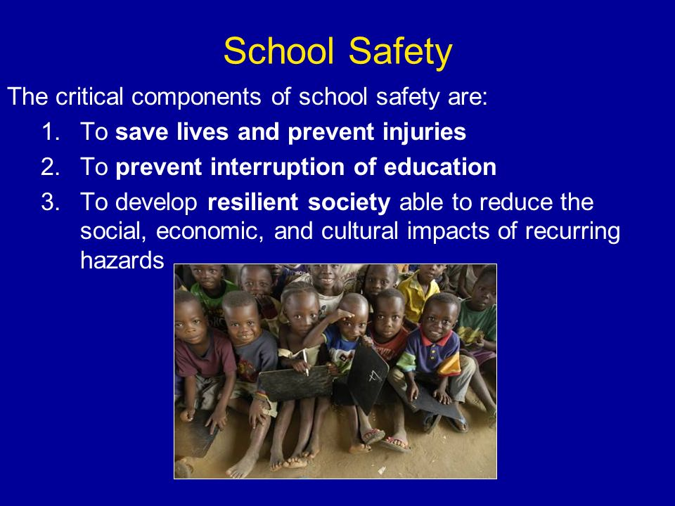 School Safety The critical components of school safety are: 1.To save lives and prevent injuries 2.To prevent interruption of education 3.To develop resilient society able to reduce the social, economic, and cultural impacts of recurring hazards