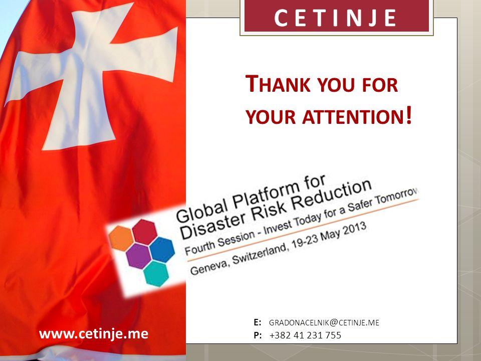www.cetinje.me C E T I N J E E: GRADONACELNIK @ CETINJE. ME P: +382 41 231 755 T HANK YOU FOR YOUR ATTENTION !