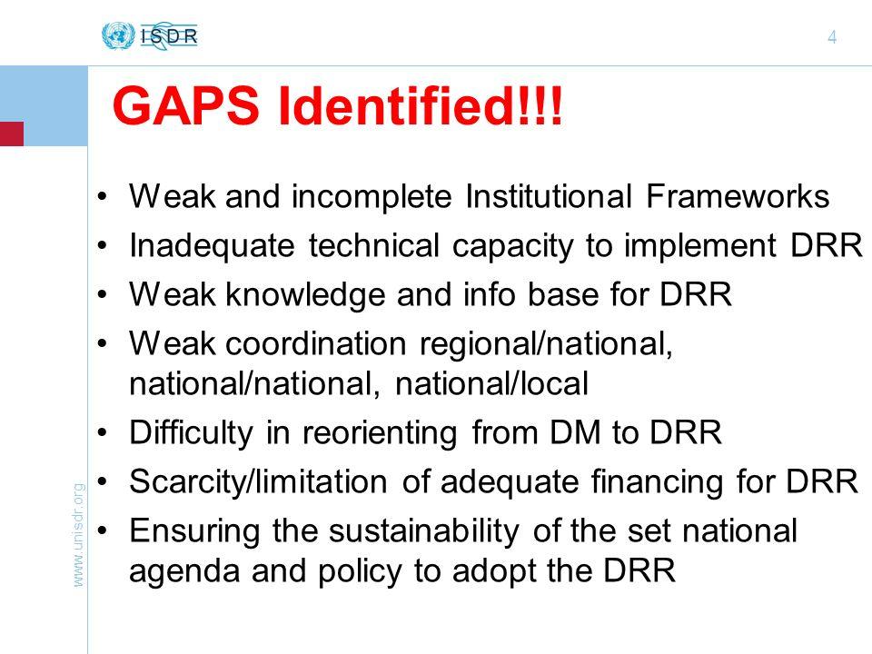 www.unisdr.org 4 GAPS Identified!!.
