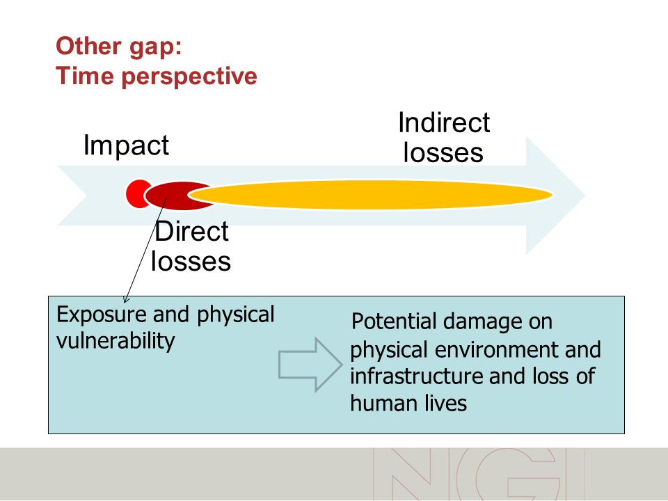 Impact Direct losses Indirect losses Exposure and physical vulnerability Potential damage on physical environment and infrastructure and loss of human lives Other gap: Time perspective