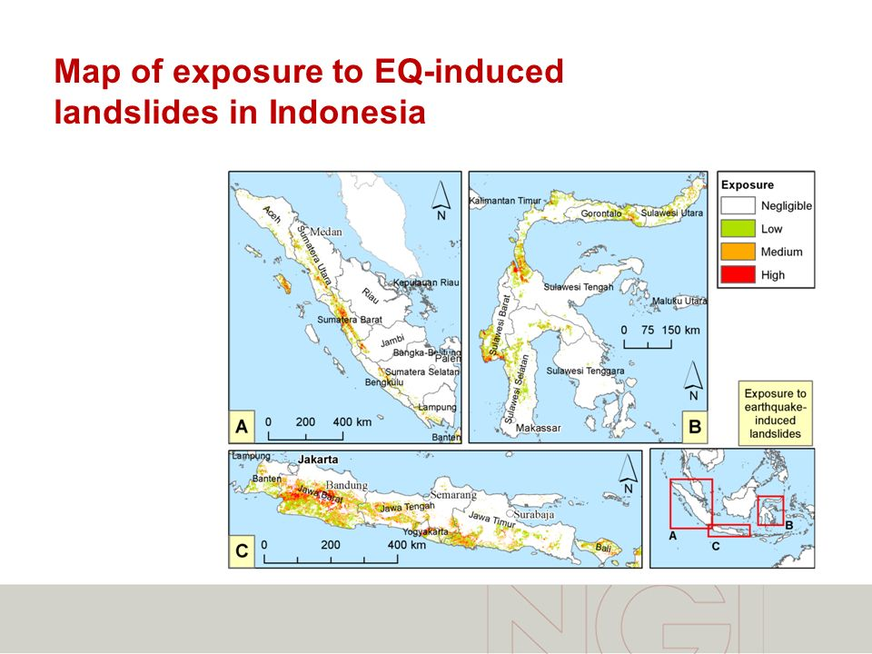 Map of exposure to EQ-induced landslides in Indonesia