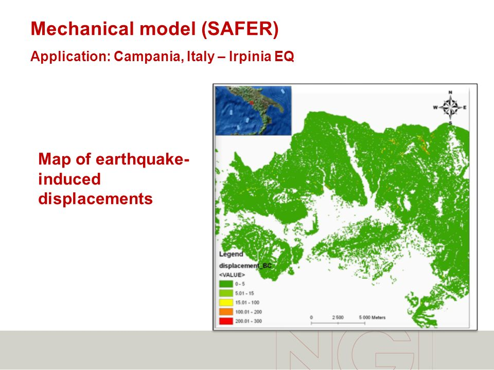 Mechanical model (SAFER) Application: Campania, Italy – Irpinia EQ Map of earthquake- induced displacements