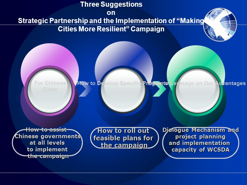 Three Suggestions on Strategic Partnership and the Implementation of Making Cities More Resilient Campaign How to assist Chinese governments at all le