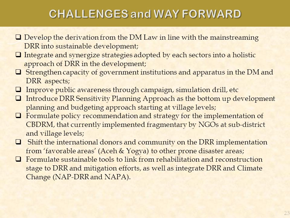 23 Develop the derivation from the DM Law in line with the mainstreaming DRR into sustainable development; Integrate and synergize strategies adopted