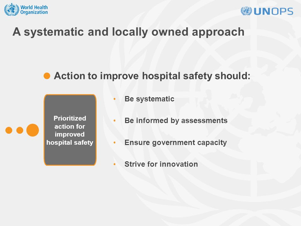 A systematic and locally owned approach Be systematic Be informed by assessments Ensure government capacity Strive for innovation Action to improve hospital safety should: Prioritized action for improved hospital safety