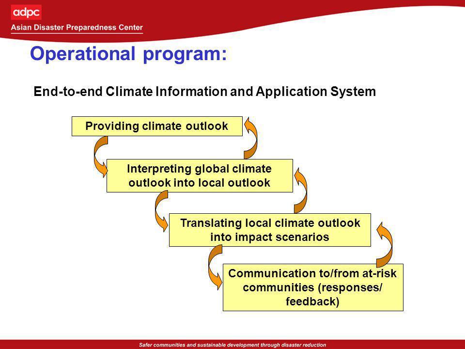 Providing climate outlook Interpreting global climate outlook into local outlook Translating local climate outlook into impact scenarios Communication