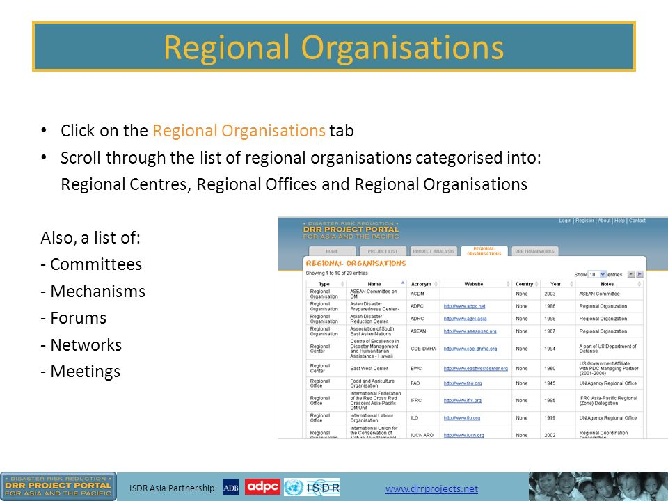 ISDR Asia Partnership   Regional Organisations Click on the Regional Organisations tab Scroll through the list of regional organisations categorised into: Regional Centres, Regional Offices and Regional Organisations Also, a list of: - Committees - Mechanisms - Forums - Networks - Meetings