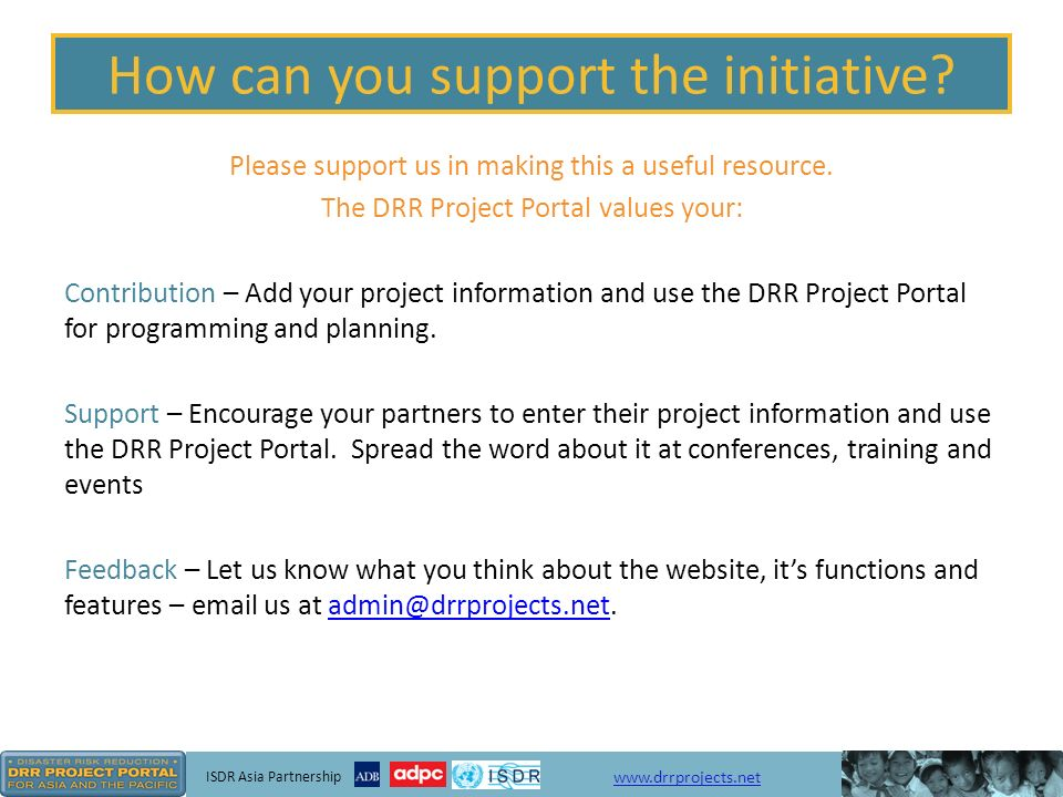 ISDR Asia Partnership   How can you support the initiative.