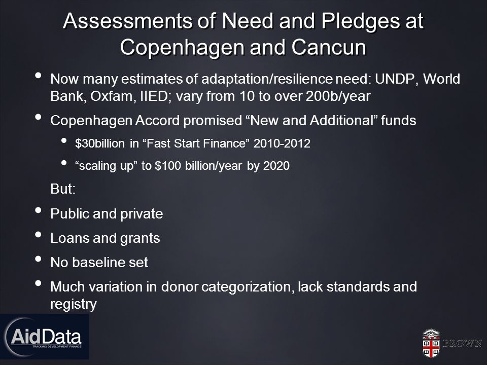 Assessments of Need and Pledges at Copenhagen and Cancun Now many estimates of adaptation/resilience need: UNDP, World Bank, Oxfam, IIED; vary from 10 to over 200b/year Copenhagen Accord promised New and Additional funds $30billion in Fast Start Finance 2010-2012 scaling up to $100 billion/year by 2020 But: Public and private Loans and grants No baseline set Much variation in donor categorization, lack standards and registry