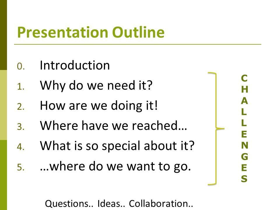 Presentation Outline 0. Introduction 1. Why do we need it.