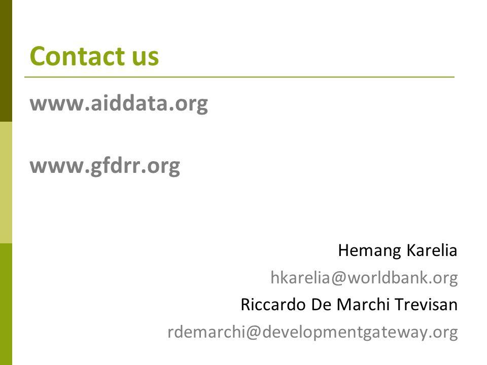 Contact us www.aiddata.org www.gfdrr.org Hemang Karelia hkarelia@worldbank.org Riccardo De Marchi Trevisan rdemarchi@developmentgateway.org