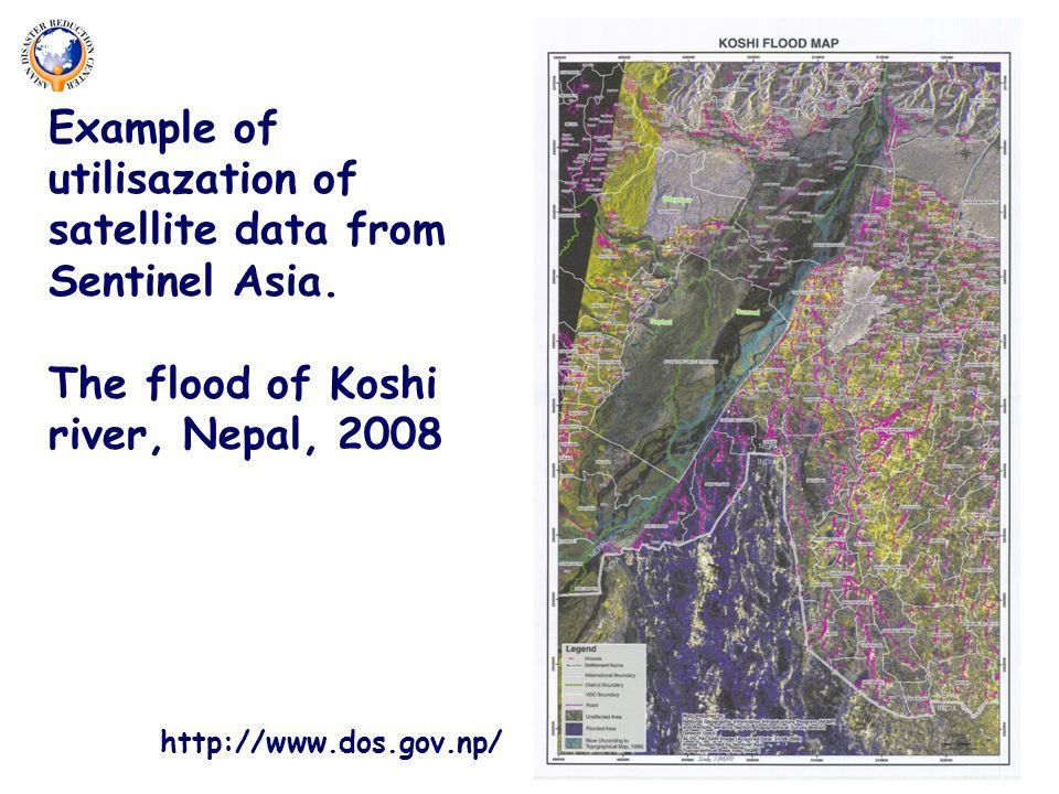 Example of utilisazation of satellite data from Sentinel Asia.