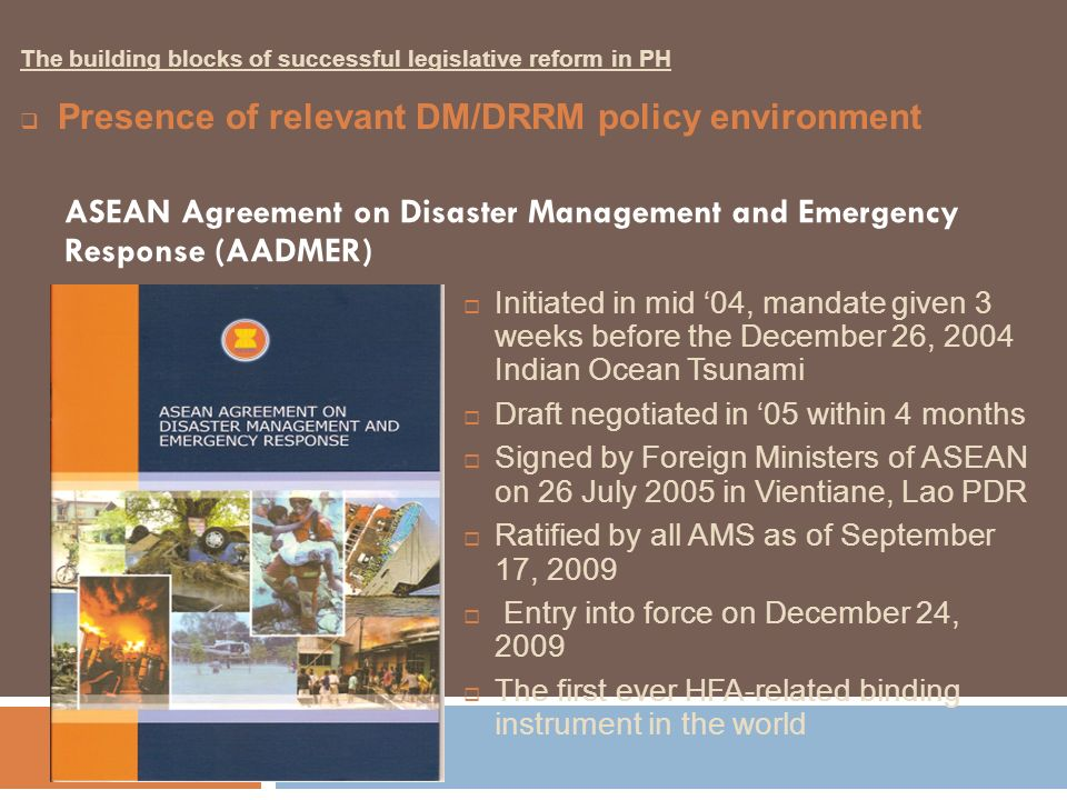 Initiated in mid 04, mandate given 3 weeks before the December 26, 2004 Indian Ocean Tsunami Draft negotiated in 05 within 4 months Signed by Foreign