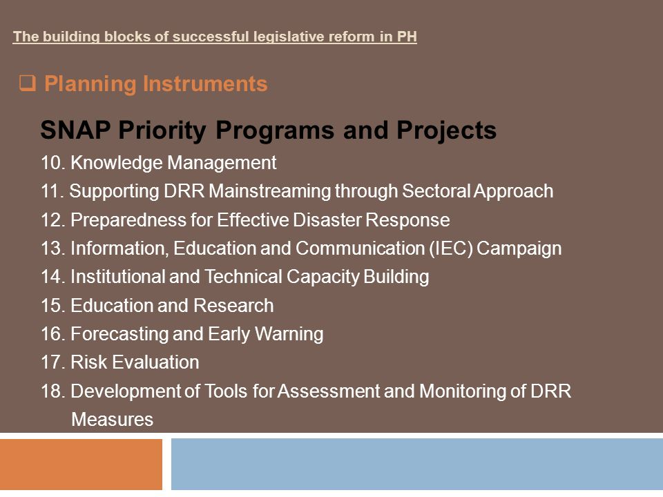 SNAP Priority Programs and Projects 10. Knowledge Management 11. Supporting DRR Mainstreaming through Sectoral Approach 12. Preparedness for Effective