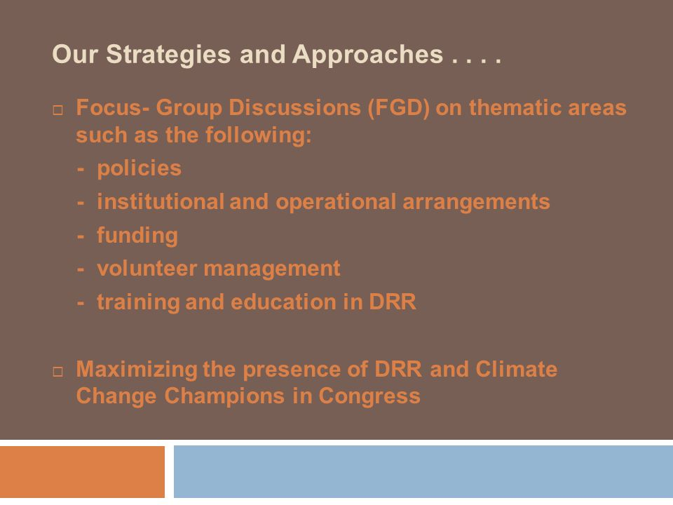 Our Strategies and Approaches.... Focus- Group Discussions (FGD) on thematic areas such as the following: - policies - institutional and operational a
