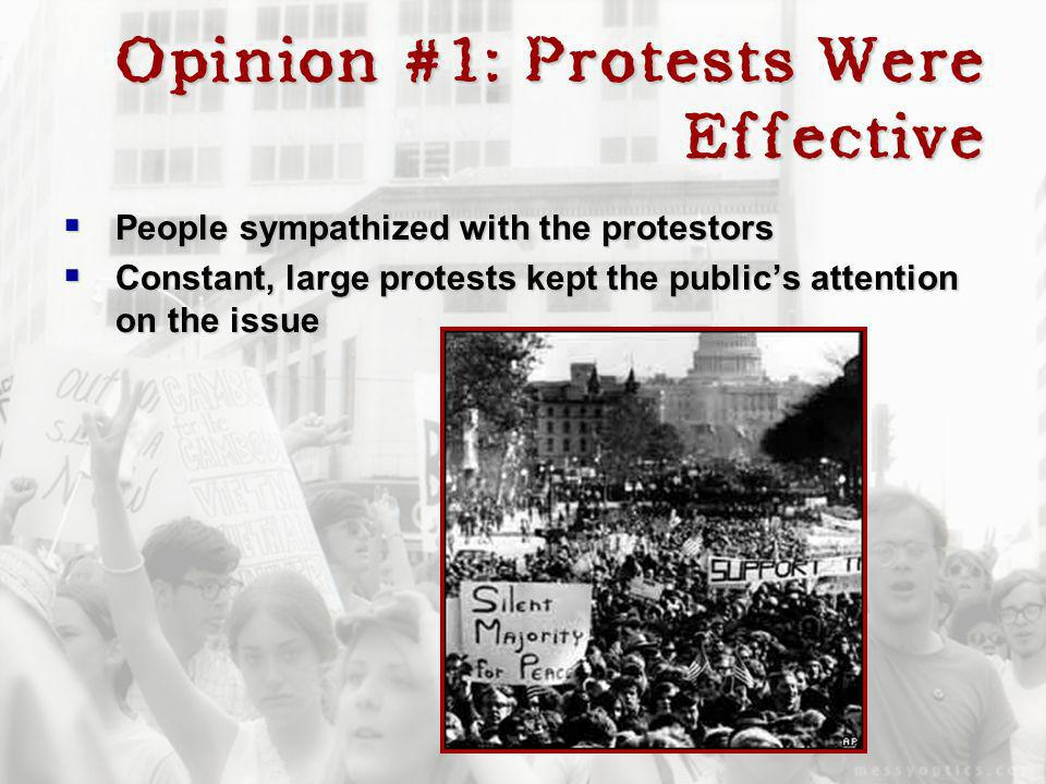 Opinion #1: Protests Were Effective People sympathized with the protestors People sympathized with the protestors Constant, large protests kept the pu