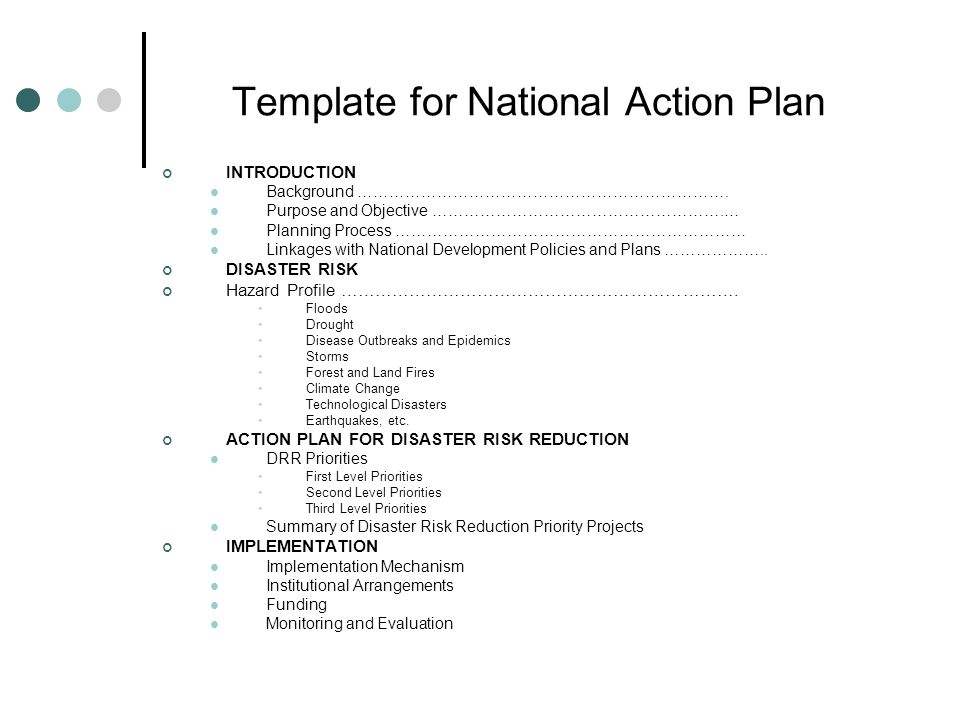 Template for National Action Plan INTRODUCTION Background …………………………………………………………….