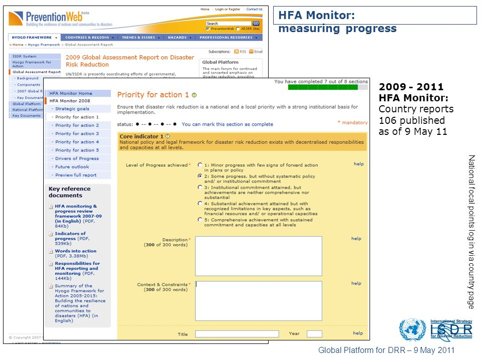 HFA Monitor: measuring progress HFA Monitor: Country reports 106 published as of 9 May 11 National focal points log in via country page Global Platform for DRR – 9 May 2011