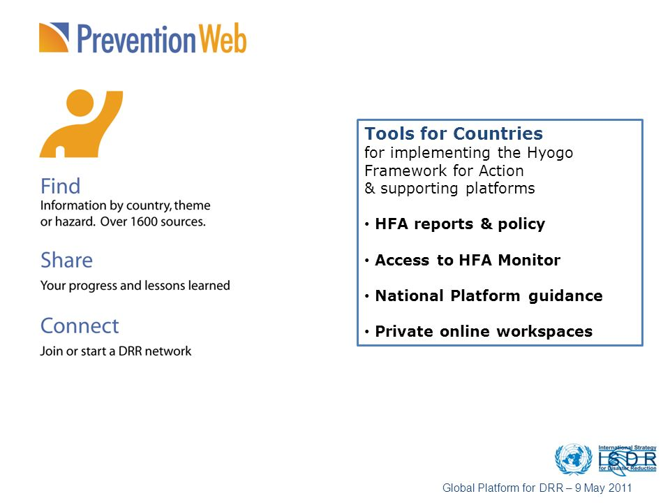 Tools for Countries for implementing the Hyogo Framework for Action & supporting platforms HFA reports & policy Access to HFA Monitor National Platfor