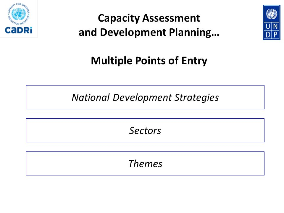 Sectors National Development Strategies Themes Capacity Assessment and Development Planning… Multiple Points of Entry