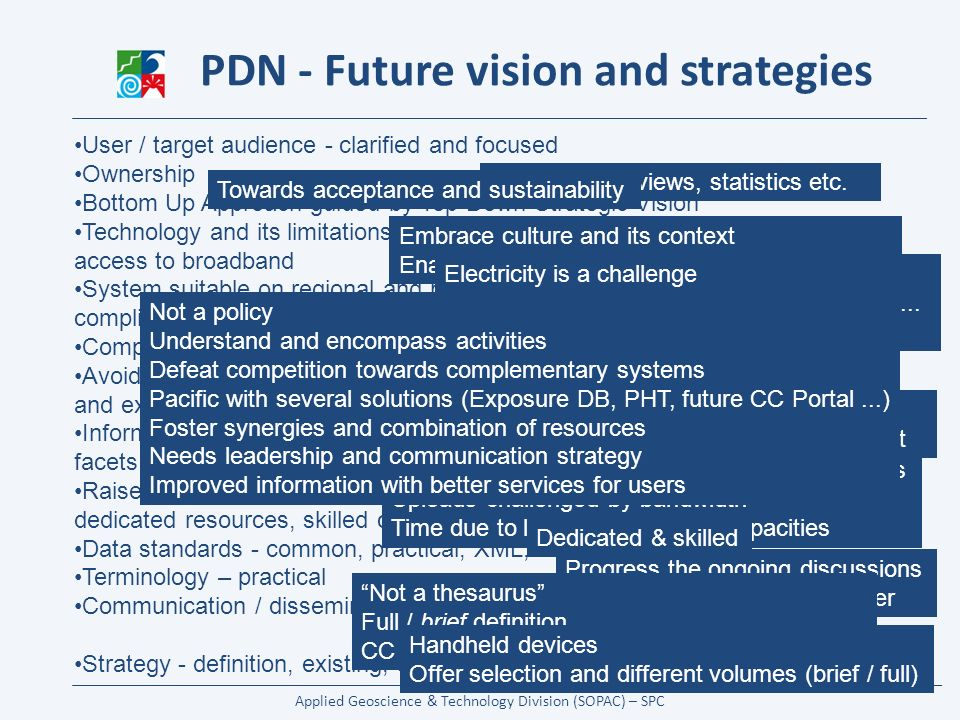Applied Geoscience & Technology Division (SOPAC) – SPC PDN - Future vision and strategies User / target audience - clarified and focused Ownership Bottom Up Approach guided by Top Down Strategic Vision Technology and its limitations - less than 2% of the Pacific population has access to broadband System suitable on regional and national level as priority – global level complimentary Competition – underlying, damaging Avoid duplicating services – use technology to enable and facilitate sharing and exchange with other systems Information sharing and content collection / update is a challenge with multiple facets Raise awareness and establish Information Management for DRM – with dedicated resources, skilled capacities Data standards - common, practical, XML,...