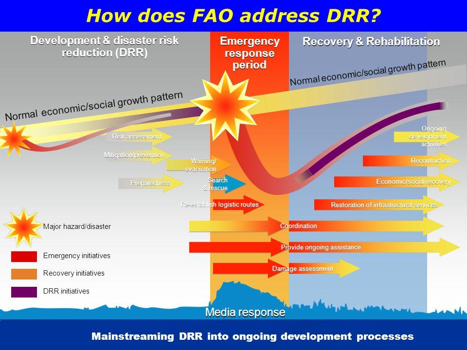 Development & disaster risk reduction (DRR) Development & disaster risk reduction (DRR) Emergency response period Emergency response period Recovery &