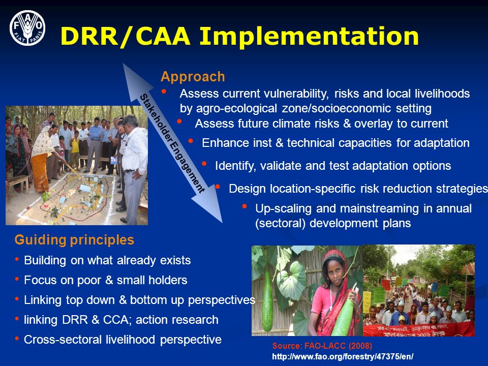 DRR/CAA Implementation Assess current vulnerability, risks and local livelihoods by agro-ecological zone/socioeconomic setting Assess future climate risks & overlay to current Identify, validate and test adaptation options Design location-specific risk reduction strategies Stakeholder Engagement Enhance inst & technical capacities for adaptation Up-scaling and mainstreaming in annual (sectoral) development plans Guiding principles Building on what already exists Focus on poor & small holders Linking top down & bottom up perspectives linking DRR & CCA; action research Cross-sectoral livelihood perspective Source: FAO-LACC (2008) http://www.fao.org/forestry/47375/en/ Approach