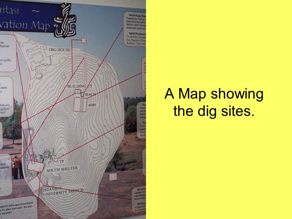 A Map showing the dig sites.