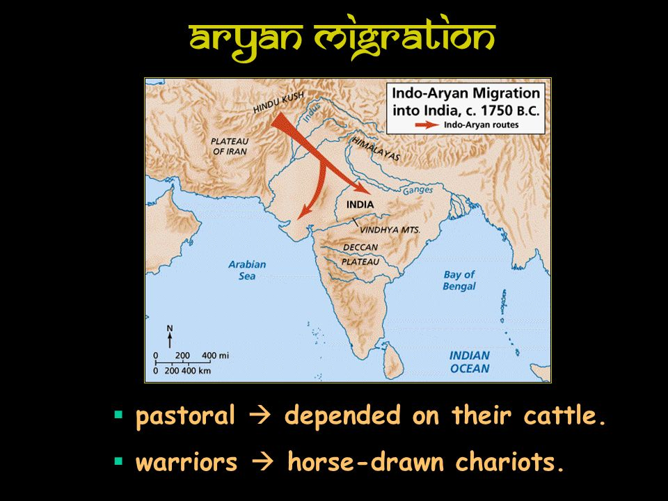 Aryan Migration pastoral depended on their cattle. warriors horse-drawn chariots.