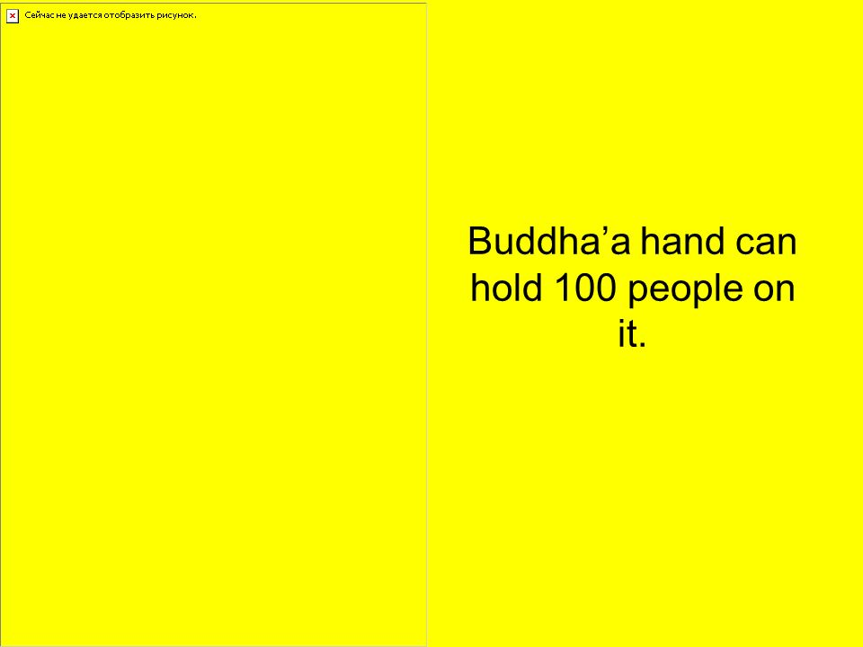 Buddhaa hand can hold 100 people on it.