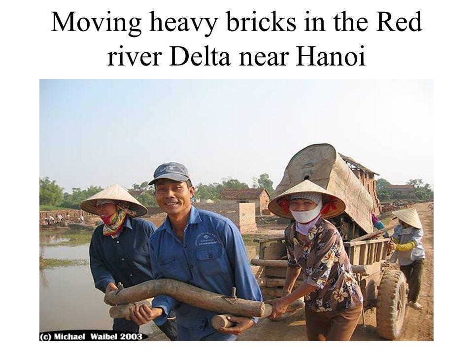Moving heavy bricks in the Red river Delta near Hanoi