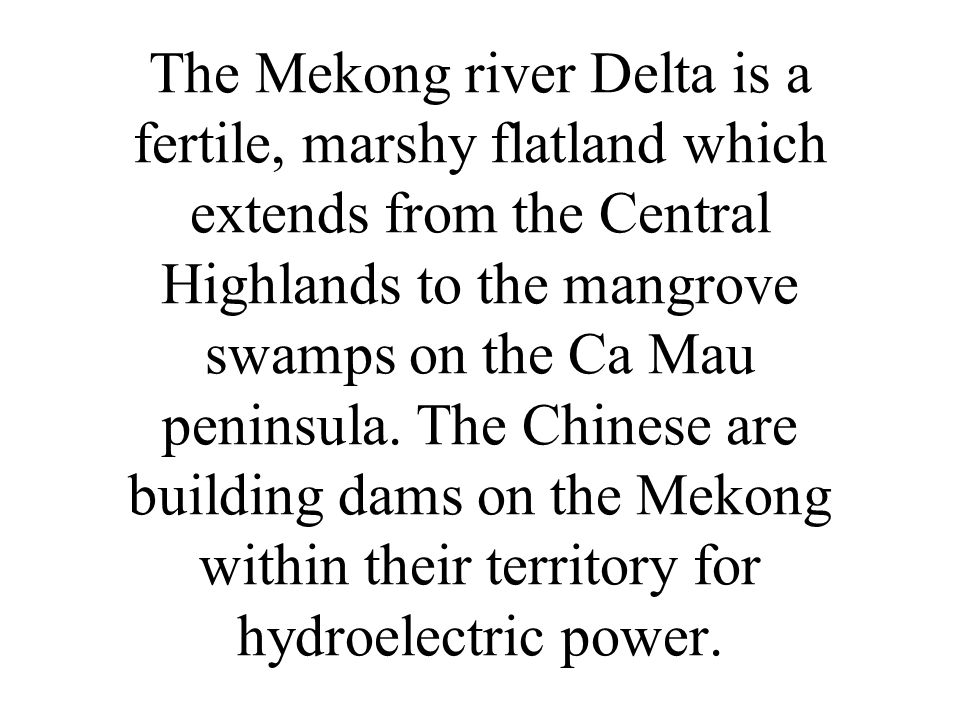 The Mekong river Delta is a fertile, marshy flatland which extends from the Central Highlands to the mangrove swamps on the Ca Mau peninsula.